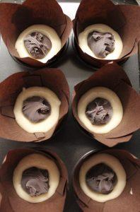 procedimento dei Muffin con cuore di nocciolata vegan