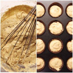 Mini muffins con glassa di zucchero senza uova e senza burro. preperazione