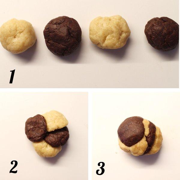 procedimento per formare i biscotti marmorizzati