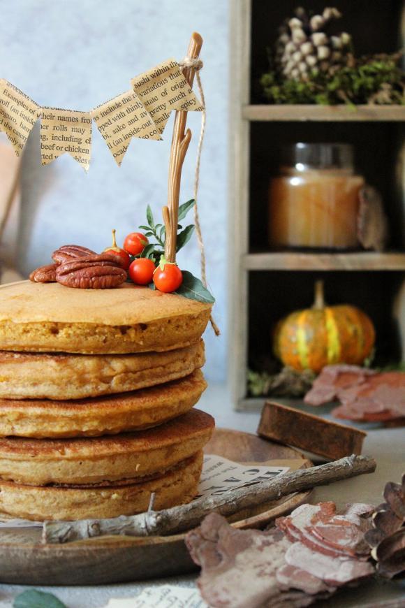 Pancake alla zucca senza uova senza burro