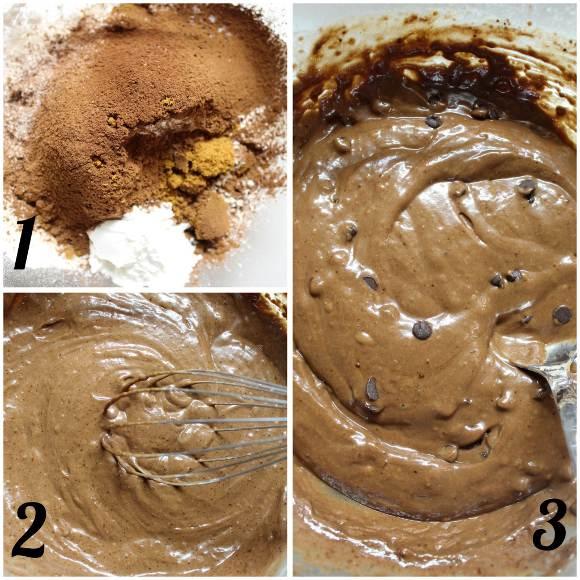 preparazione Muffins al triplo cioccolato senza uova senza burro