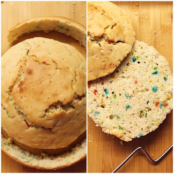 procedimento della tortaNaked Funfetti Cake senza uova senza burro