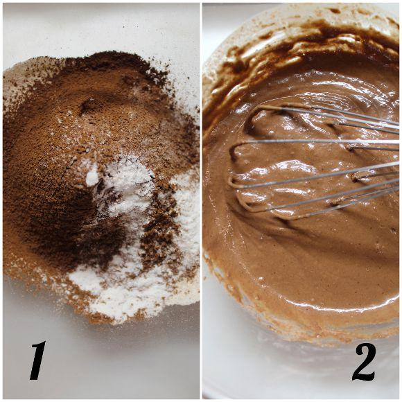 procedimento Pancakes al cacao e nocciole vegani
