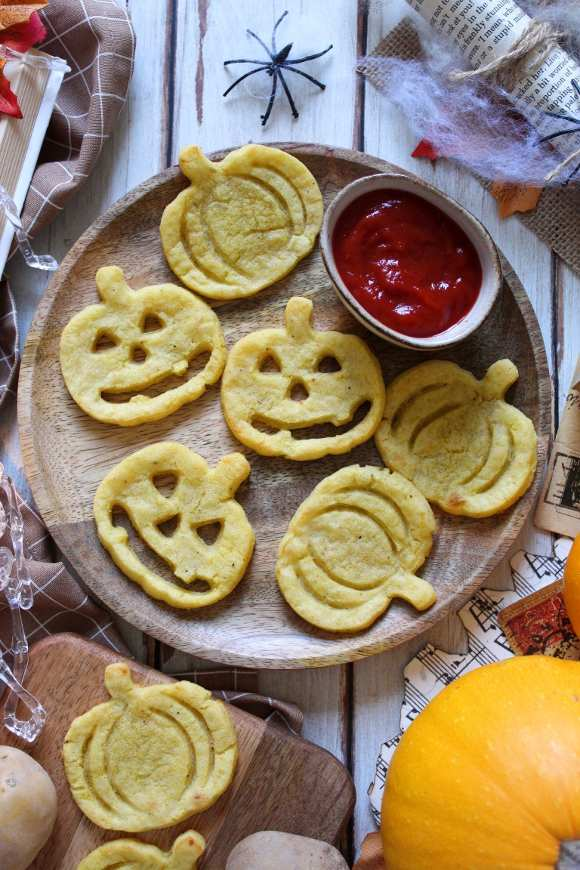 Faccine di Patate a forma di Zucca di halloween