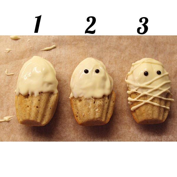Madeleine Mummie di Halloween senza uova senza burro procedimento