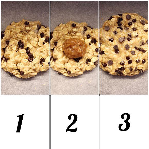 Cookies avena e gocce di cioccolato ripieni di caramello di datteri procedimento