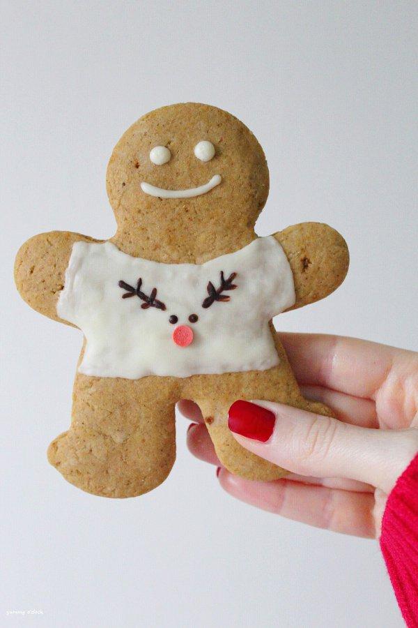 gingerbread cookie con maglia di natale