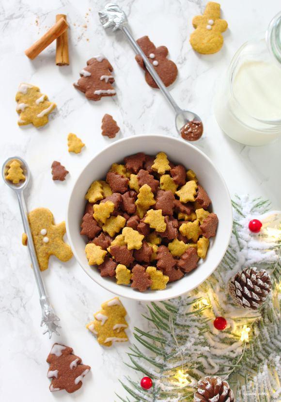 Cereali integrali di Natale zucca e crema di nocciole fatti in casa