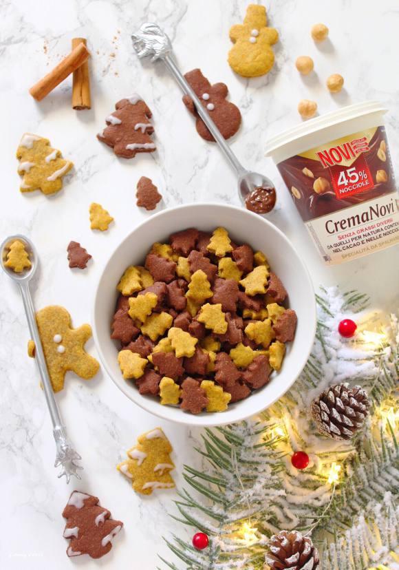 Cereali integrali di Natale zucca e crema di nocciole novi