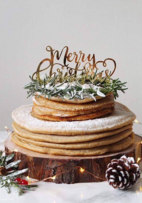 Torta Pancake di Natale senza lattosio senza uova senza burro