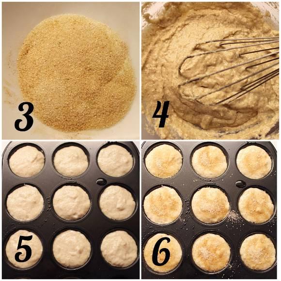 Pancake mini muffins zucchero e cannella vegan procedimento