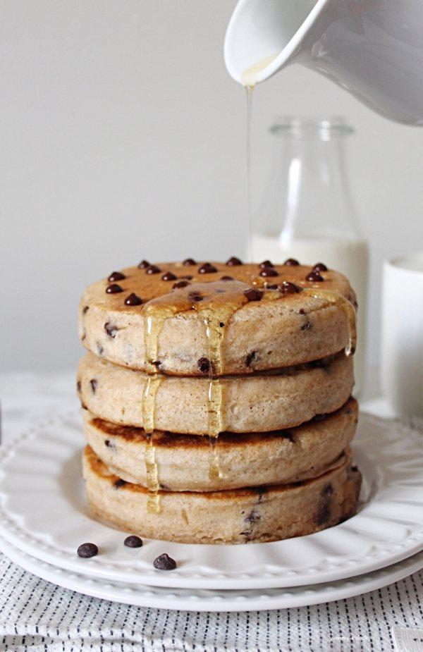 Pancakes con gocce di cioccolato