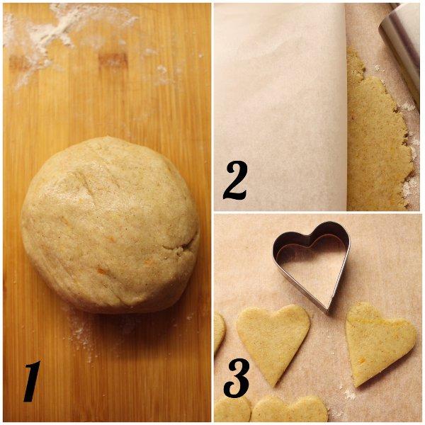 Ghirlanda di biscotti a forma di cuore arancia e limone senza uova procedimento