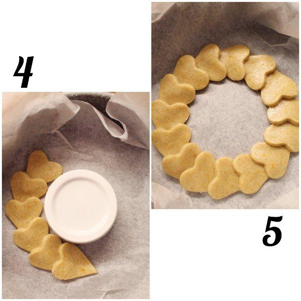 Ghirlanda di biscotti a forma di cuore arancia e limone senza uova preparazione
