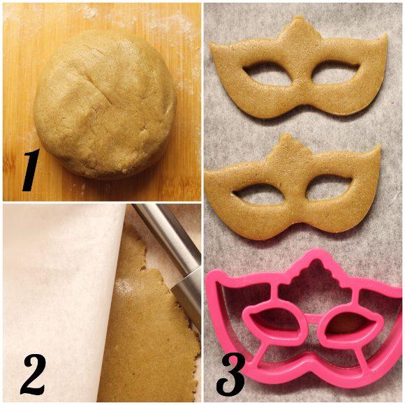 Biscotti Maschere di carnevale senza lattosio senza uova preparazione