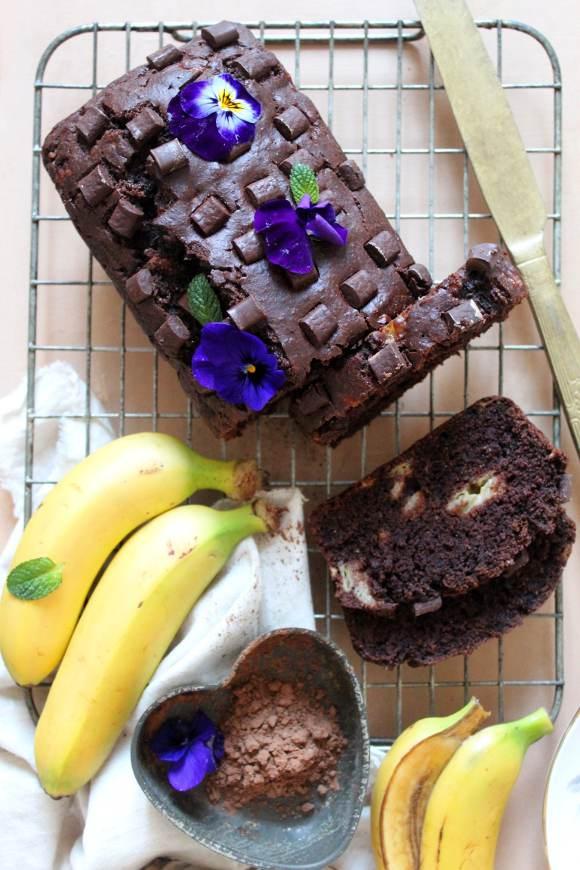 Banana bread al cacao senza burro