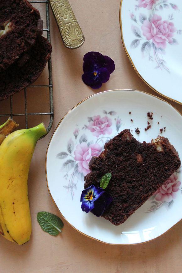 plumcake Banana bread al cacao senza uova senza burro