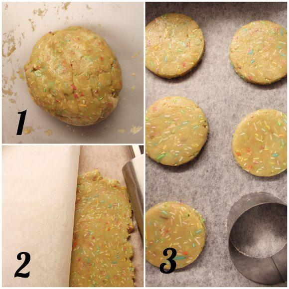 Biscotti Funfetti sandwich con crema di ricotta senza uova procedimento