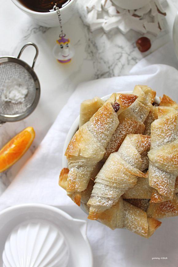 Mini Cornetti di pasta fillo farciti con crema