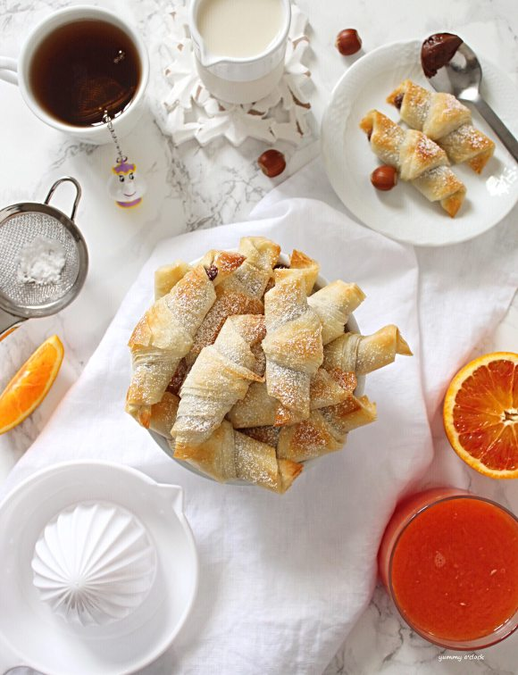Mini Cornetti di pasta fillo con crema di nocciole