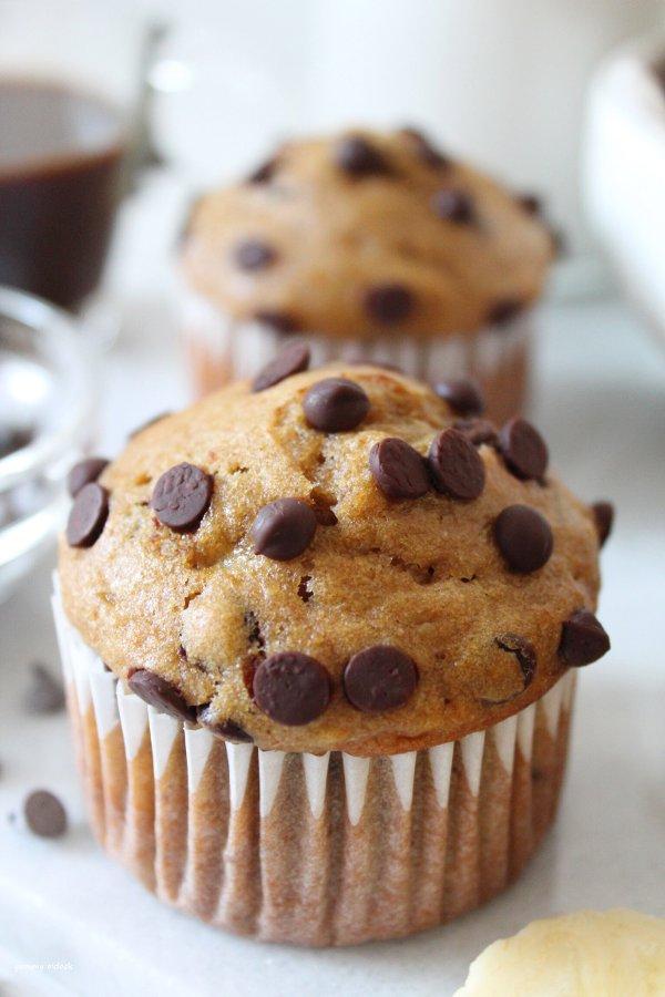 Muffin banana con gocce di cioccolato vegan
