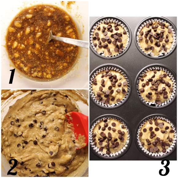 Muffin caffè e banana con gocce di cioccolato vegan preparazione