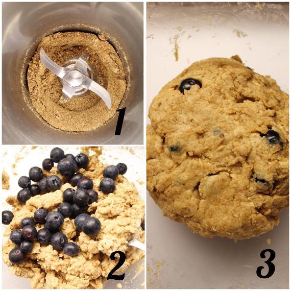 preparazione degli Scones ai mirtilli avena nocciole e yogurt greco senza burro