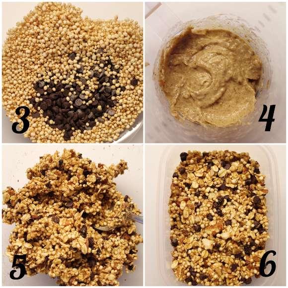 procedimento della Granola senza lunga cottura dolcificata con datteri e banana