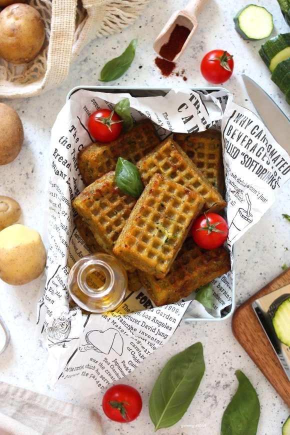 Waffles salati al forno vegan