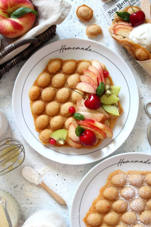 Bubble waffles senza uova