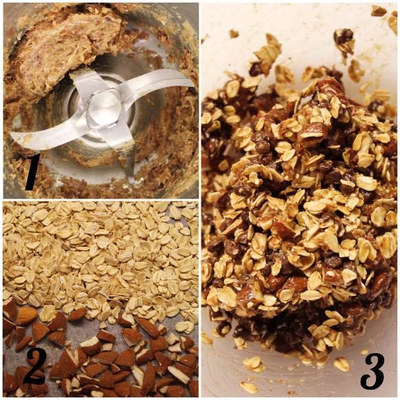 Barrette di avena, mandorle e gocce di cioccolato senza lunga cottura preparazione