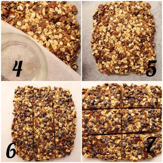 procedimento delle Barrette di avena, mandorle e gocce di cioccolato senza lunga cottura