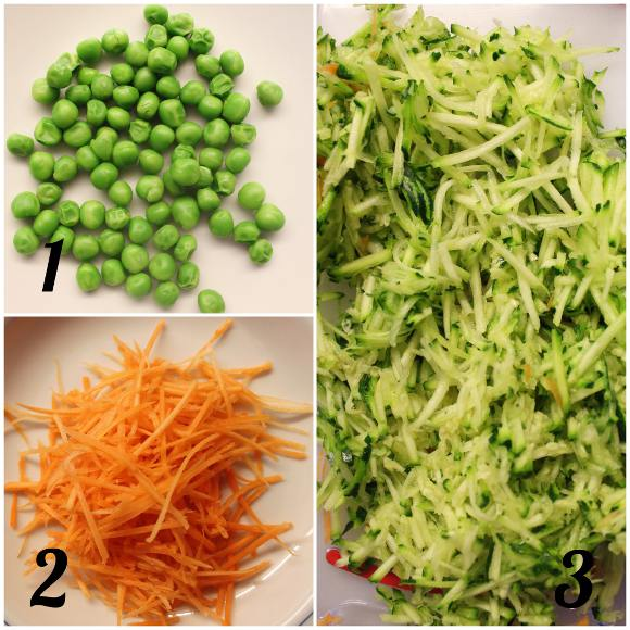 Pancakes salati carote zucchine e piselli vegan preparazione