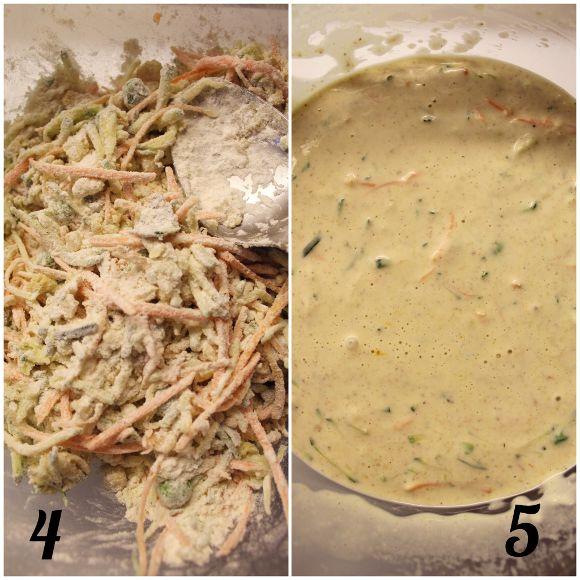 Pancakes salati carote zucchine e piselli vegan procedimento