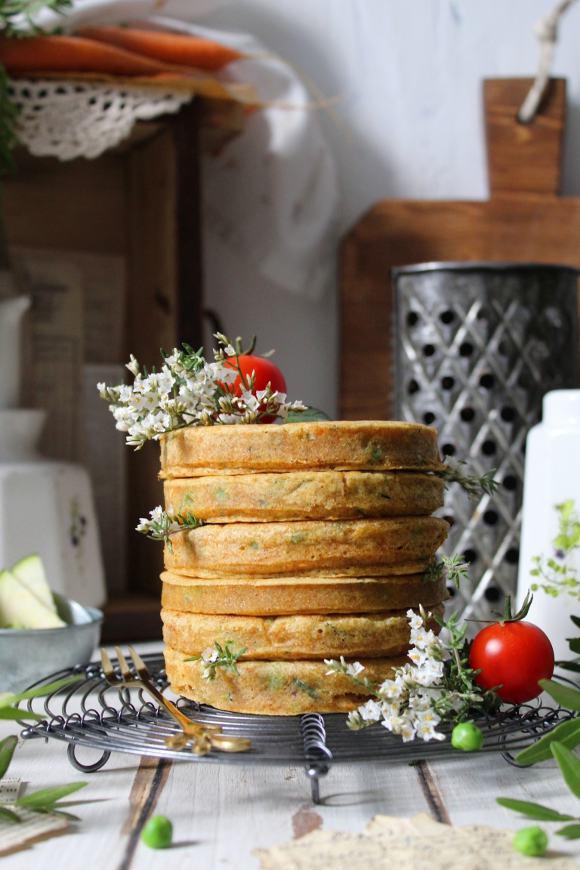 Pancakes carote zucchine e piselli vegan