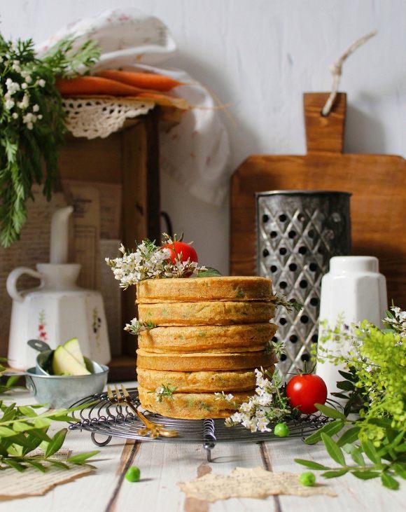 Pancakes salati carote zucchine e piselli vegan