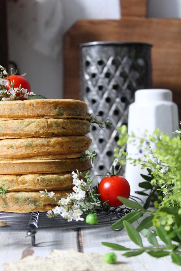 Pancakes carote zucchine e piselli salati vegan