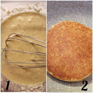 procedimento per la preparazione dei Pancakes al cocco senza glutine senza lattosio senza uova