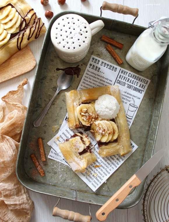 Galette di pasta fillo crema di nocciole, banane e nocciole