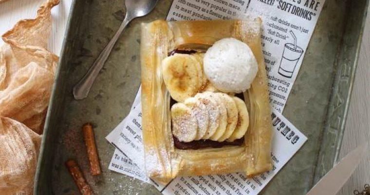 Galette di pasta fillo crema di nocciole e banane