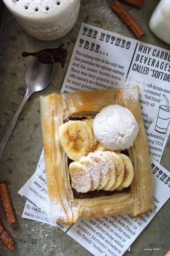 Galette di pasta fillo con banane e crema di nocciole