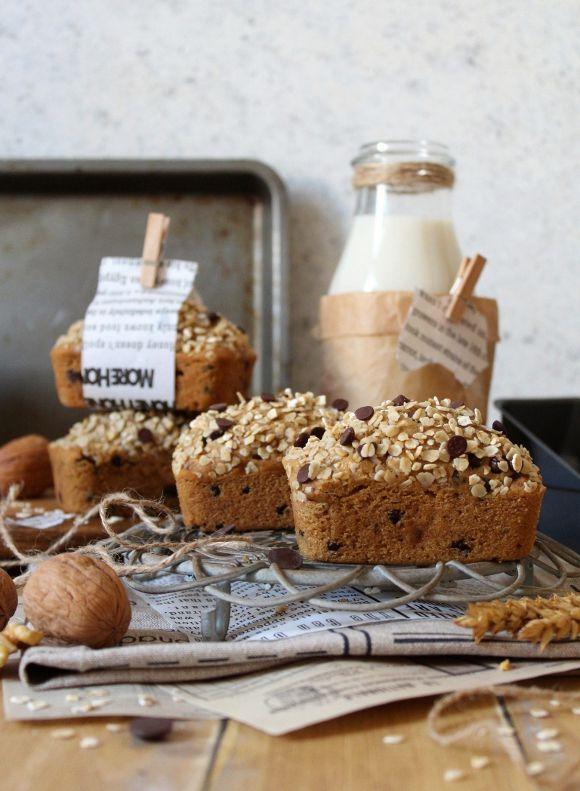 Mini plumcake avena noci e gocce di cioccolato vegan