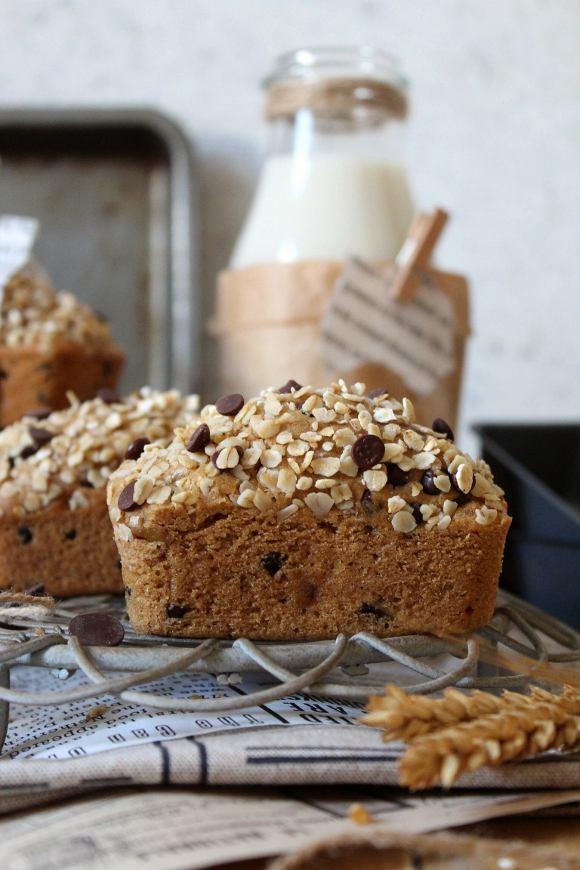 Mini plumcake avena noci e gocce di cioccolato fondente