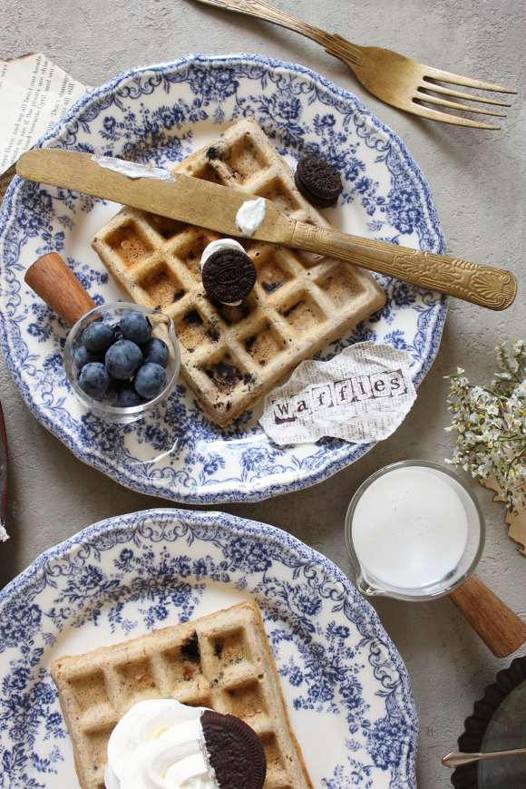 Waffles dolci oreo senza uova senza burro