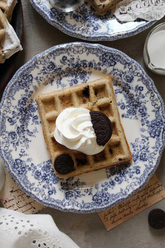 Waffles con biscotti oreo senza uova senza burro