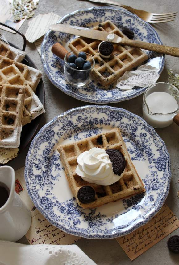 Waffles con oreo senza uova senza burro