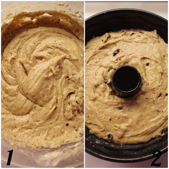Ciambella con gocce di cioccolato yogurt greco e cannella senza uova procedimento