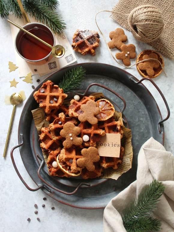 Biscotti waffle cookies speziati con gocce di cioccolato senza lattosio senza uova