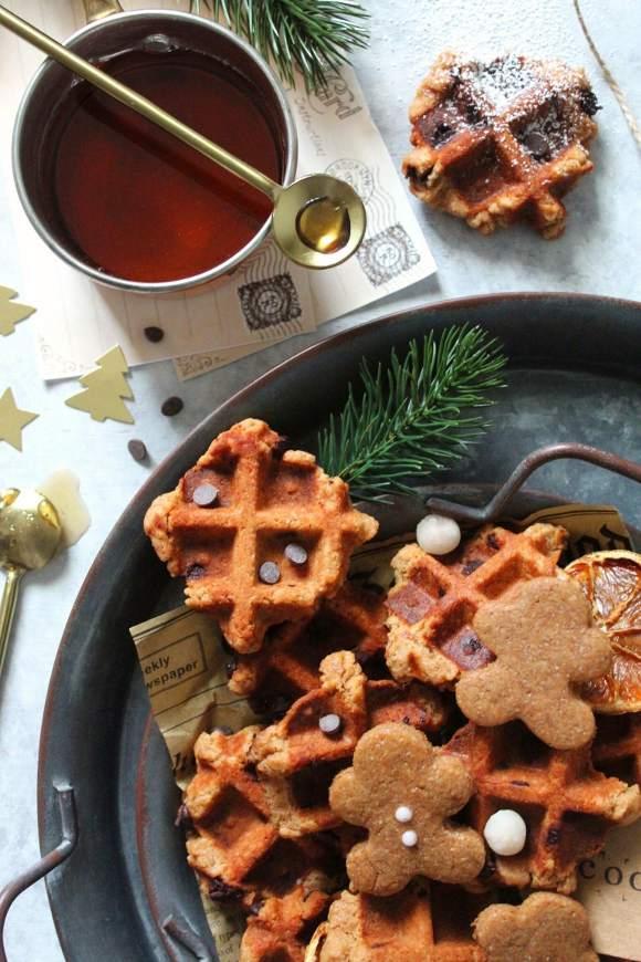 Biscotti waffle cookies speziati senza lattosio senza uova