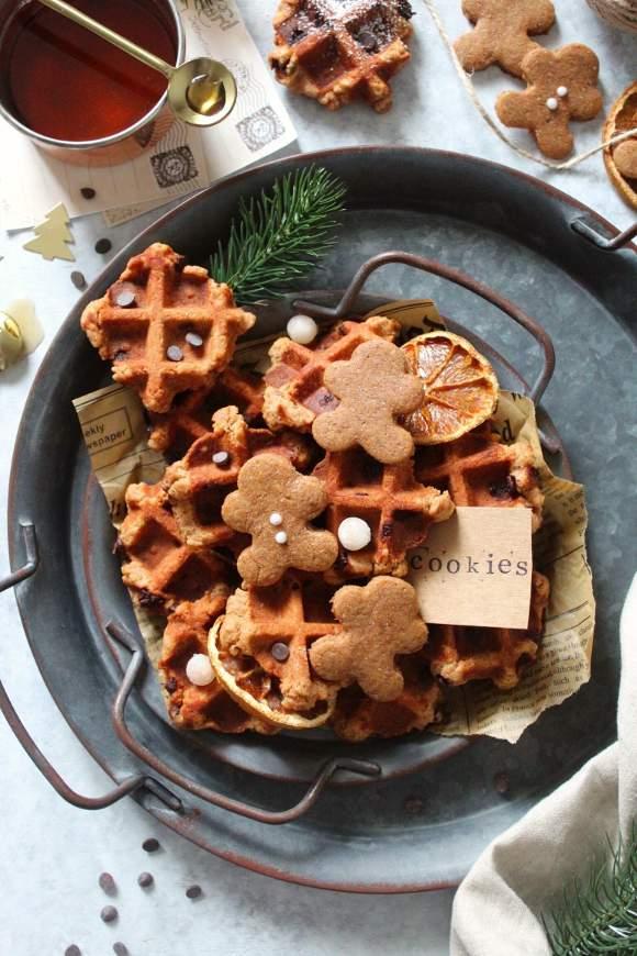 waffle cookies speziati con gocce di cioccolato senza lattosio senza uova